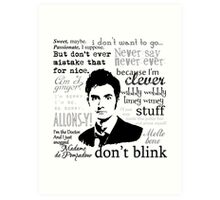 Tenth Doctor - on white Art Print