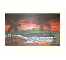 Colorful beach Scene Art Print