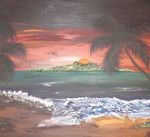 Colorful beach Scene by Steven Slusher