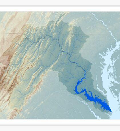 Potomac River Watershed Map - Raw Landscape Sticker
