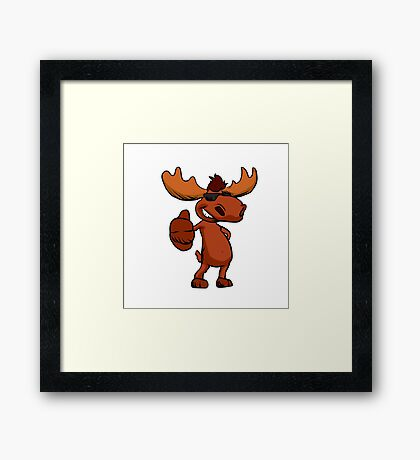 Cute moose cartoon waving. Framed Print