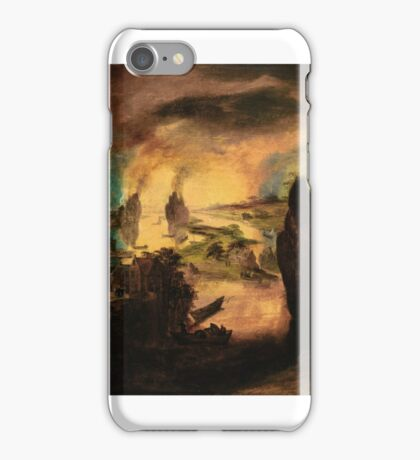 Gillis Mostaert LOT AND HIS DAUGHTERS GUIDED BY ANGELS, THE DESTRUCTION OF SODOM AND GOMORRAH BEYOND iPhone Case/Skin