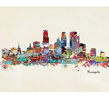 Minneapolis skyline watercolor Photographic Print
