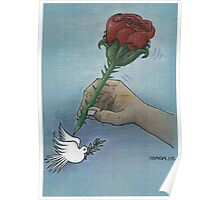 Rose and pigeon Poster