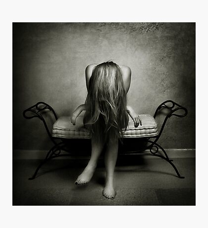 A wall, a chair and a girl... Photographic Print