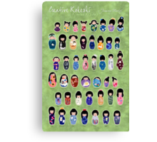 Creative Kokeshi, English version Canvas Print