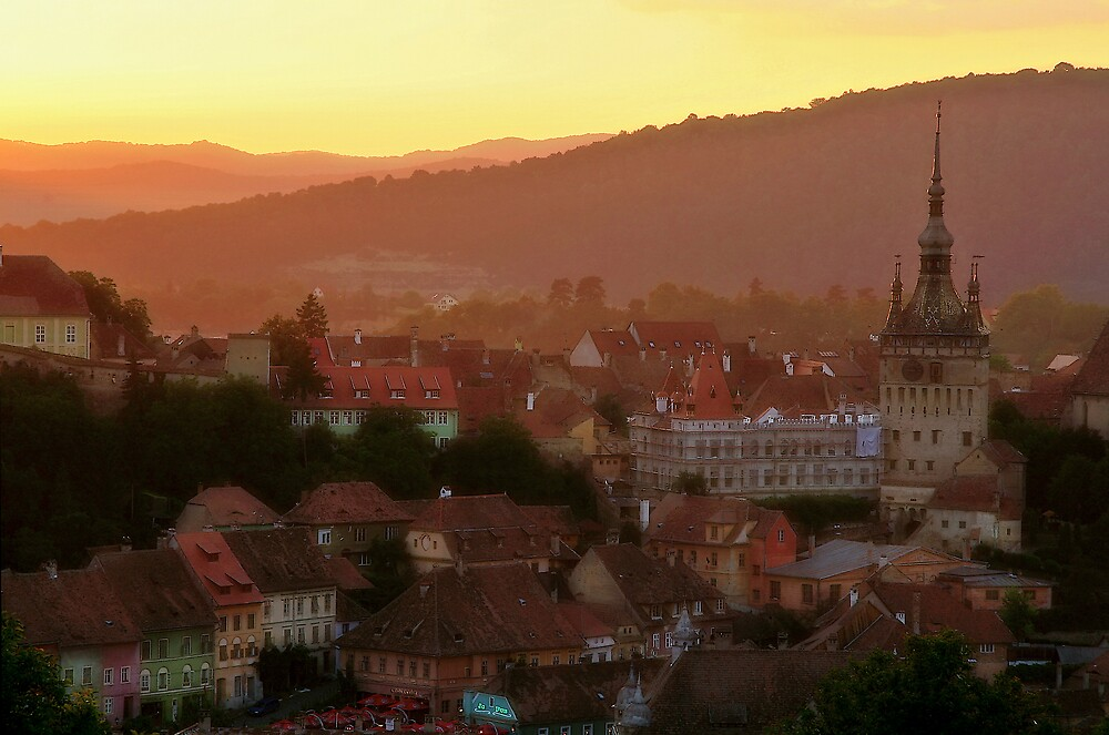 Sunset in Sighisoara by GabiB