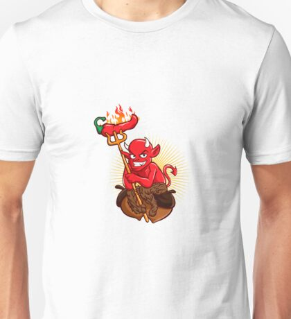 Devil with Hot Chili Pepper Cartoon  Unisex T-Shirt