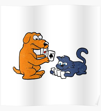 dog and cat playing cards Poster