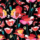 Seamless pattern of beautiful red poppies by Tanor