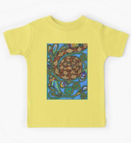 paisley turquoise snake Kids Tee