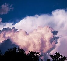 peachy blue clouds by IveyRose