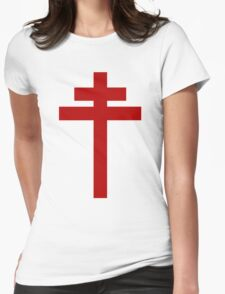 cross of Lorraine - Knights Templar - Holy Grail - Joan of Arch - The Crusades Womens Fitted T-Shirt
