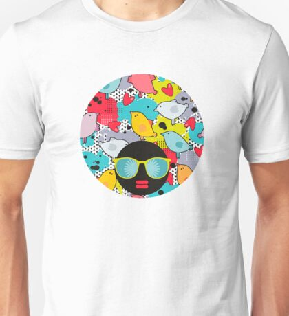 Birds and hearts and colorful blur Unisex T-Shirt