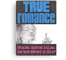 TRUE ROMANCE hand drawn movie poster in pencil Canvas Print
