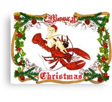 Merry Christmas- Cat, Pug and Lobster Canvas Print