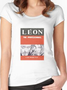 LEON hand drawn movie poster in pencil Women's Fitted Scoop T-Shirt