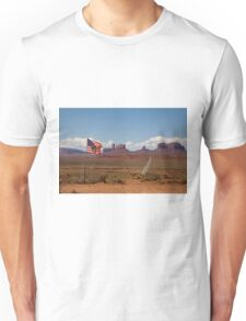 Monument Valley and the American Flag Unisex T-Shirt