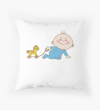 Baby Play With Toys Throw Pillow