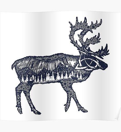 Reindeer double exposure Poster