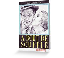 BREATHLESS hand drawn movie poster in pencil Greeting Card