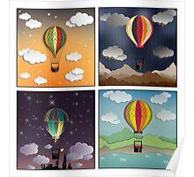 Balloon Aeronautics Set Poster
