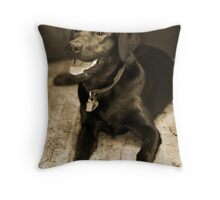Black Lab Sepia Throw Pillow