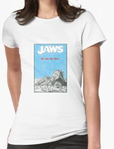 JAWS hand drawn movie poster in pencil Womens Fitted T-Shirt