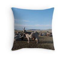 Goat in a Mongolian Steppe Throw Pillow