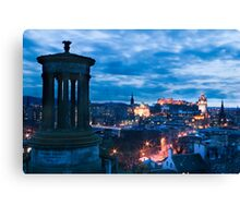 Dugald Stewart Monument & Edinburgh City Canvas Print