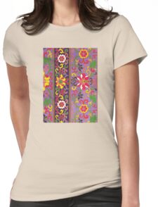 Cute Purple Colorful Floral Pattern Graphic Design - Color Oriental Flower Art Womens Fitted T-Shirt