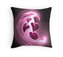 Pink Hearts Throw Pillow
