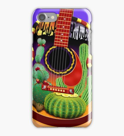 Acoustic Guitar With Southwest Desert Motif  iPhone Case/Skin