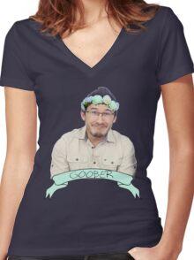 Markiplier (Level: Flower crown) 2.0 Women's Fitted V-Neck T-Shirt
