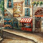 Cobblestone Street with Shops Oil Painting by LesMoments Oil Painting
