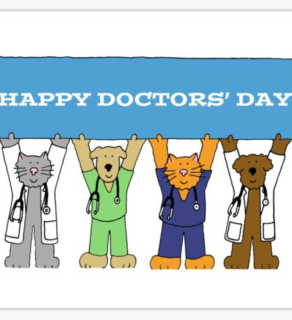Happy Doctors' Day Cats and Dogs Sticker