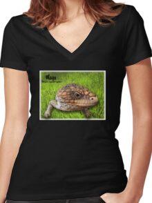 Tiliqua Rugosa Rugosa Women's Fitted V-Neck T-Shirt