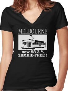 MELBOURNE - Now 98.3% zombie-free! Women's Fitted V-Neck T-Shirt