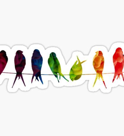 7 Birds on a line - edit Sticker