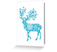 Turquoise blue Christmas deer Greeting Card