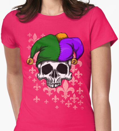 Mardi Gras Skull Womens Fitted T-Shirt