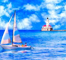 Sailing By Chicago Harbor Light - Lake Michicagan by Mark Tisdale
