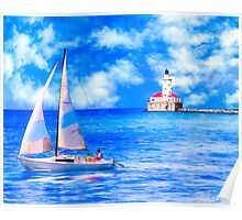 Sailing By Chicago Harbor Light - Lake Michicagan Poster