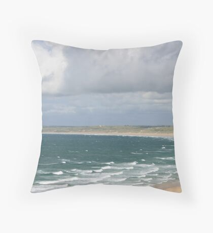 Carbis Bay to Porth Kidney Sands Throw Pillow