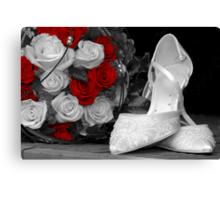 wedding bouquet and bride shoes Canvas Print