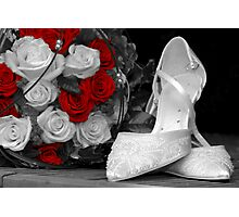 wedding bouquet and bride shoes Photographic Print