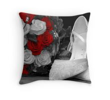 wedding bouquet and bride shoes Throw Pillow