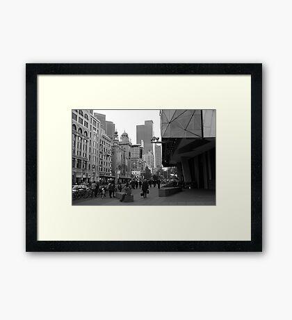 Flinders Street : Black and White Melbourne Framed Print