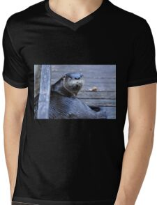 North American River Otter ( Lontra,canadensis) Mens V-Neck T-Shirt