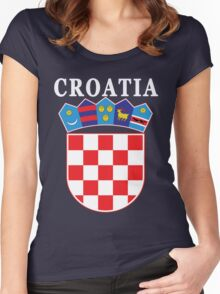 Croatia Deluxe Football Jersey Design Women's Fitted Scoop T-Shirt